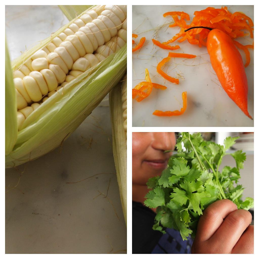Corn, Aji Amarillo, Cilantro