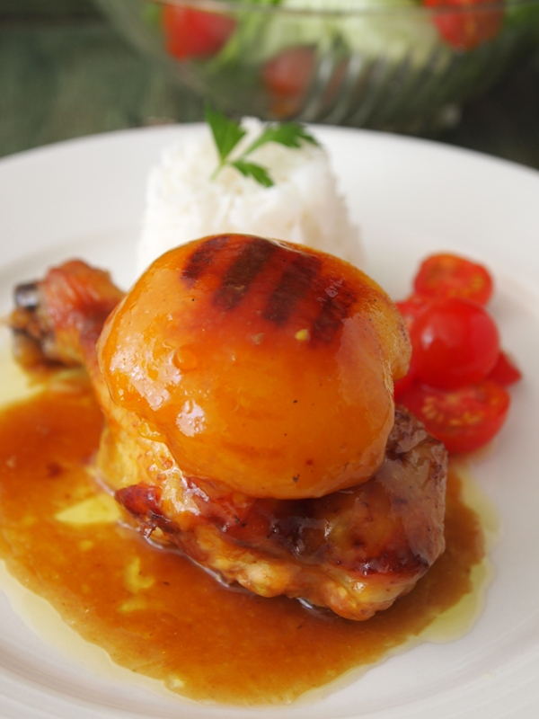 Roast chicken with peaches. jpg