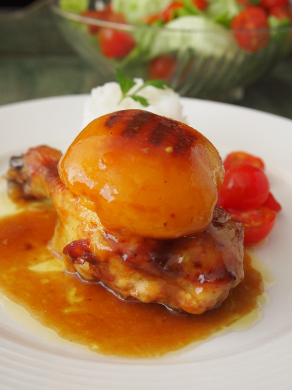 Roast chicken with peach. jpg