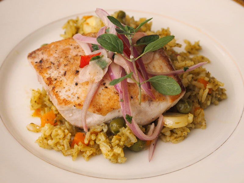 Green rice with fish. jpg