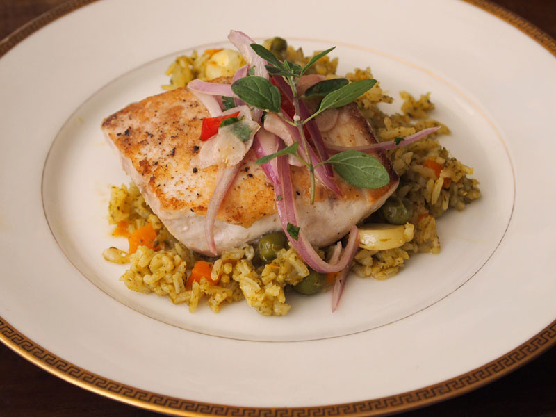 Green rice with fish. jpg 2