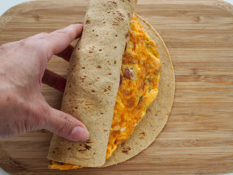 Sausage and Potato Omelette Wraps
